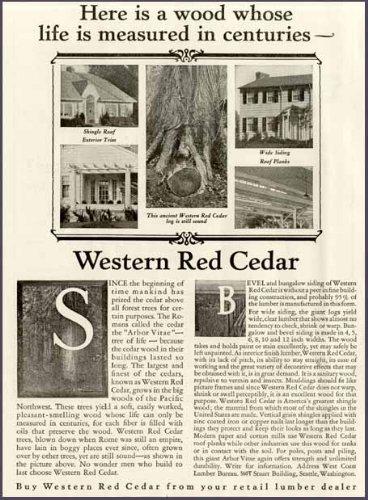 (SAD 1927 AD for Western RED Cedar Lumber Products Original Paper Ephemera Authentic Vintage Print Magazine Ad/Article)