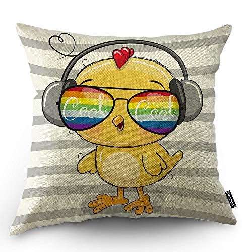 Moslion Chick Pillow Cover Cool Yellow Chicken with Rainbow Sunglasses Headphone in Grey White Stripes Throw Pillow Case 18x18 Inch Cotton Linen Square Cushion Decorative Cover for Sofa Bed