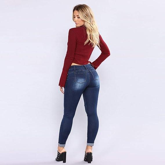 Pantalones Mujer Deporte, Zolimx Mujeres Agujero Skinny Lápiz Jeans Estiramiento Slim Fitness Pantalón Pantalones: Amazon.es: Deportes y aire libre