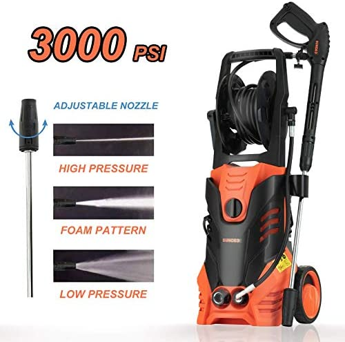 SUNCOO Electric Pressure Washer, 3000PSI 2.4 GPM Portable Power Washer with Spray Gun, Adjustable Nozzle,20ft High Pressure Hose, Hose Reel High Pressure Washer Machine, Pressure Cleaner, Car Washer
