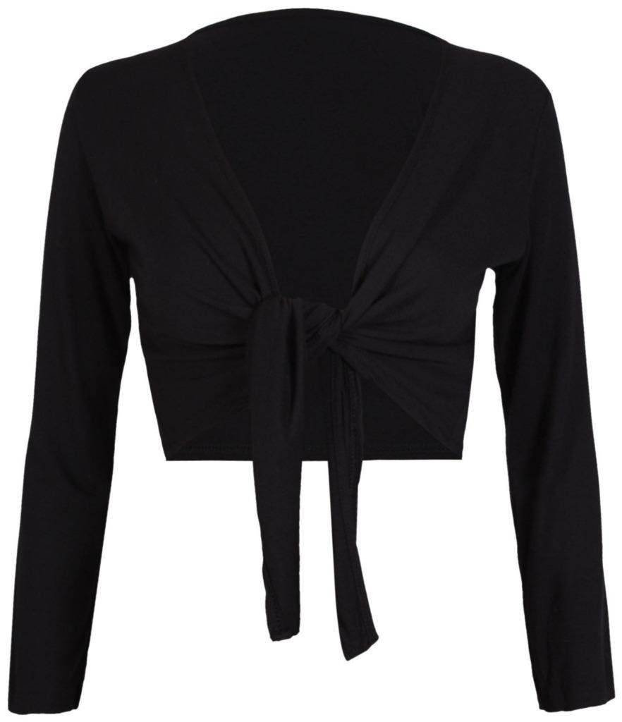 Commencer Womens Tie up Long Sleeve Bolero Shrug Club Wear Top BLACK-S/M