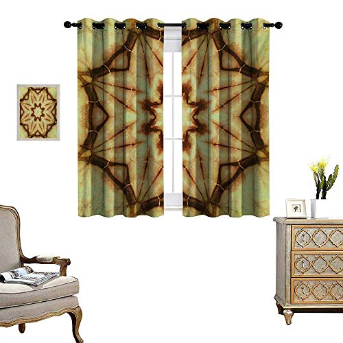 (Mandala Patterned Drape for Glass Door Trippy Ethnic Thai Mandala Motif with Dirty Grunge Smear and Rough Stains Art Waterproof Window Curtain W63 x L63 Mustard Brown)