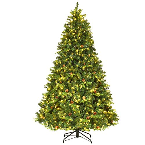 Goplus 7.5Ft Pre-Lit Artificial Christmas Tree Premium Spruce Hinged Tree w/ 540 LED Lights & Pine Cones (Walmart Christmas Stands For Trees Tree Artificial)
