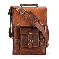 Handmade Leather Crossbody satchel shoulder Messenger briefcase bag 13 inch mens womens