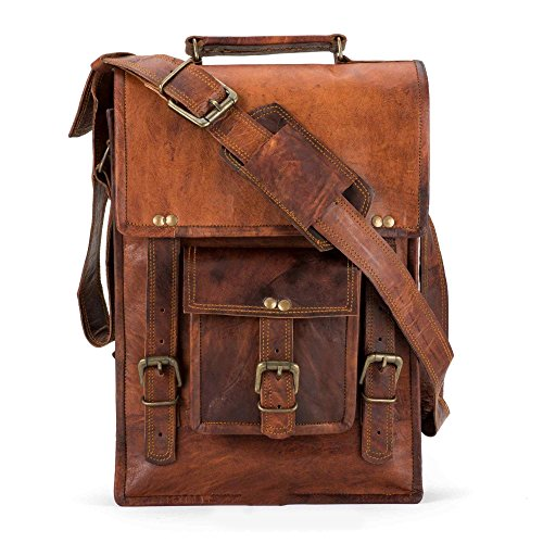 Handmade Leather Crossbody satchel shoulder Messenger briefcase bag 15 inch