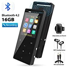 MP3 Player, MP3 Player with Bluetooth, 16GB Portable Digital Music Player with FM Radio/Recorder, HiFi Lossless Sound Quality, Music Direct Recording, Expandable up to 128GB TF Card, with Armband