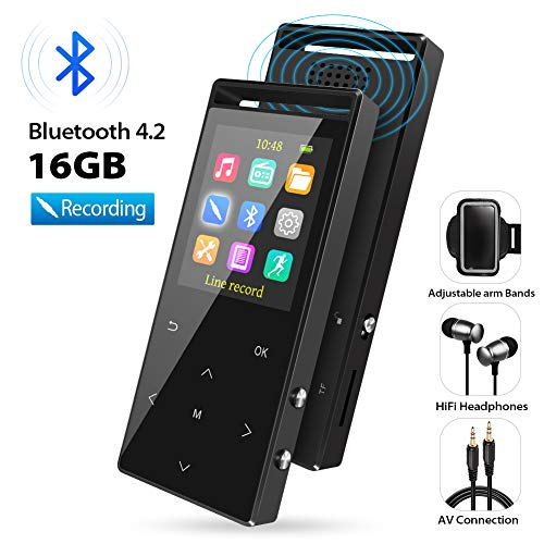 th Bluetooth, 16GB Portable Digital Music Player with FM Radio/Recorder, HiFi Lossless Sound Quality, Music Direct Recording, Expandable up to 128GB TF Card, with Armband, Black ()