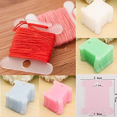 JULUJ 100pcs Plastic Embroidery Floss&Craft Thread Bobbins for Storage Holder Cross Stitch Sewing Supplies Winding Stitch Wound Board