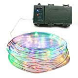 Lalapao Rope Lights 120 LED Battery Operated String Fairy Christmas Lighting Decor Timer For Outdoor Indoor Garden Lawn Wedding Decorations (Multi Color)