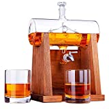 Jillmo Whiskey Decanter Set with 2 Glasses - 1250ml & 42 oz Lead Free Barrel Ship Dispenser with Detachable Wooden Holder Gift for Liquor, Scotch, Bourbon, Vodka, Whisky, Rum & Alcohol