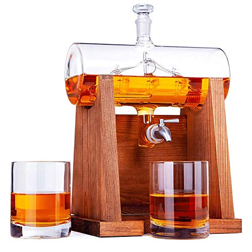 Jillmo Whiskey Decanter Set with 2 Glasses - 1250ml & 42 oz Lead Free Barrel Ship Dispenser with Detachable Wooden Holder Gift for Liquor, Scotch, Bourbon, Whisky, Rum & Alcohol