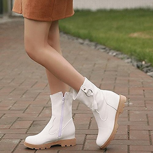 Agodor Womens Flat Platform Mid Calf Boots With Zip Closed-Toe Autumn Winter Shoes White 4o7Y1tSWOj