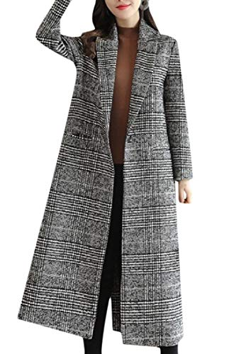 Women's Coat Wrap Down Picture As Turn Fitted Long Collar Fall Winter Plaid Mogogo dHUqvCd
