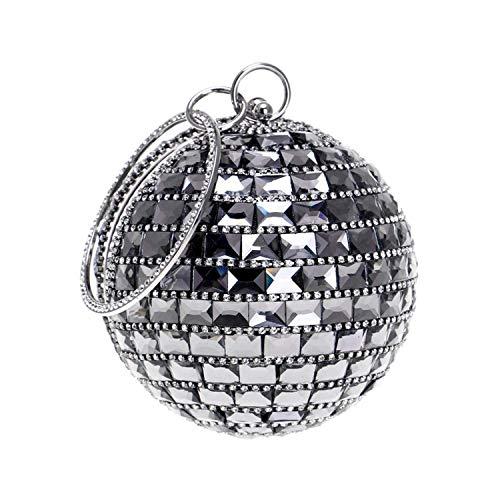 Para Yisaesa Cumpleaños El Bolso Incrustaciones Diagonal Noche Moda Diamantes Con Boda Esférico Fiesta Negro De Reunión Embrague La Señoras Anual Hombro Las pgpwzSqx