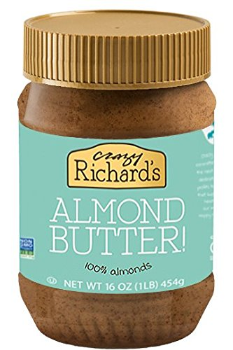 Crazy Richard's Almond Butter, 100% Natural, Non-GMO, Gluten-free, Vegan, 16oz Jar