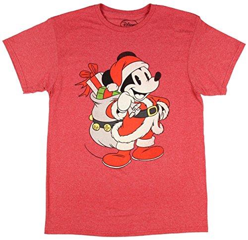 T-shirt Christmas Santa (Christmas Disney Mickey Mouse Santa Red Graphic T-Shirt)