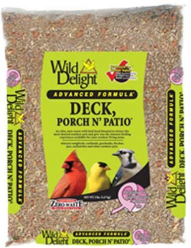 Wild Delight Deck, Porch N' Patio No Waste Bird Food, 5 lb (Squirrel With Nuts Stuck In Bird Feeder)