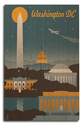 Lantern Press Washington, DC - Retro Skyline (10x15 Wood Wall Sign, Wall Decor Ready to - Lincoln Washington Dc Monument
