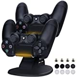 PS4 Controller Charger, AOJOYS Playstation 4/PS4 Pro/PS4 Slim Controller Charging Station Dualshock 4 Dock with 4 Charging Dongles & 2 USB Charging Ports Charger Stand Holder, Black