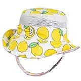Eriso Baby Toddler Plaid Bucket Reversible Sun Protection Animal Hat (4-8 Years, Lemon)