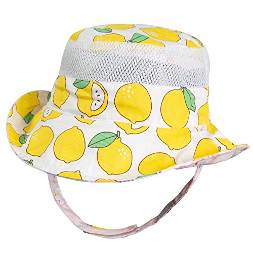 Eriso Baby Toddler Plaid Bucket Reversible Sun Protection Animal Hat (4-8 Years, Lemon) by Eriso