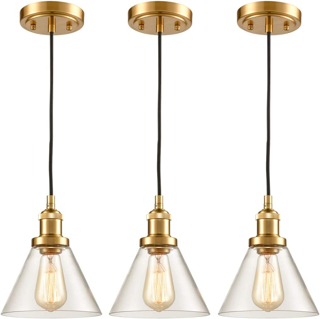 Industrial Brass Pendant Lighting Mini Clear Glass Kitchen Island Hanging Light Fixture-3 Pack