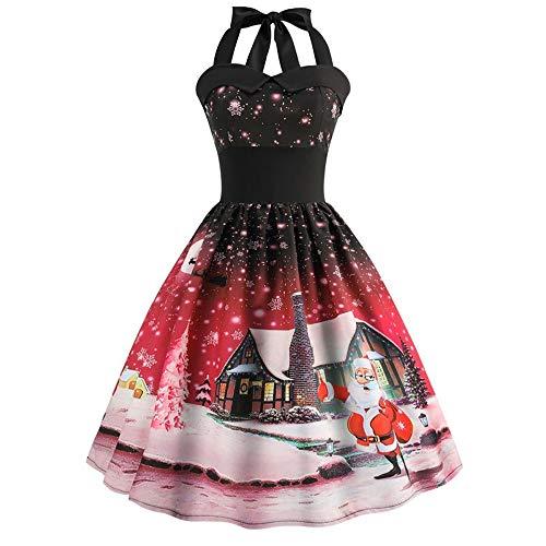 (Sunhusing Ladies Stylish Sexy Halter Sleeveless Ball Gown Christmas Print Vintage Prom Big Swing Pleated Dress)