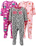 Simple Joys by Carter's Girls' Toddler 3-Pack Loose Fit Flame Resistant Fleece Footed Pajamas, Fox/Dino/Leopard Print 4T