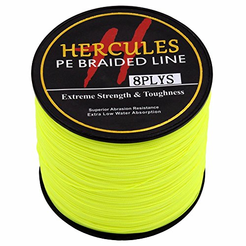 HERCULES 300m 328yds Fluorescent Yellow 10lbs-300lbs Pe Braided Fishing Line 8 Strands (80lb/36.3kg 0.48mm)
