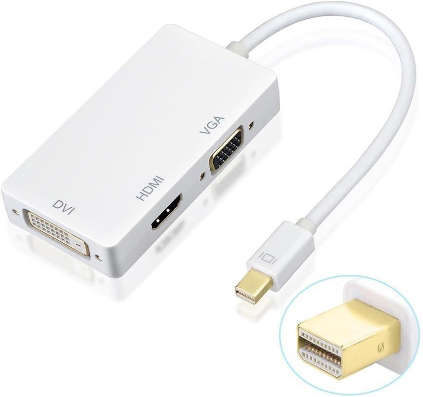 AMANKA 3 en1 Mini DisplayPort/Thunderbolt a HDMI/DVI/VGA Adaptador Cable de Compatible con 1.3 Habilita Completo 4K x 2K resolución y 3D estéreo allá Full HD para Macbook Pro Aire iMac - Blanco