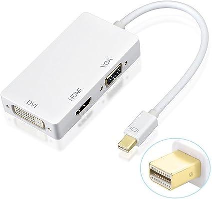 AMANKA 3 en1 Mini DisplayPort/Thunderbolt a HDMI/DVI/VGA Adaptador ...