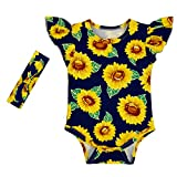 Anbaby Gilrs Cute Romper Climbing Clothes With Headband Sunflower 0-6Months
