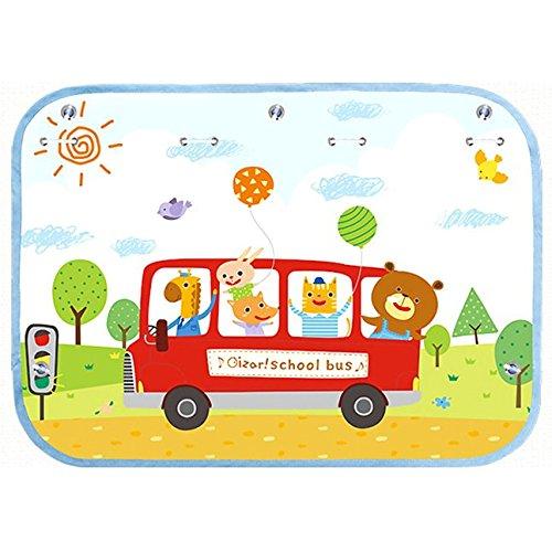 - Car Sun Shade Curtain for Side Window baby kids children - Car Sunshade Protector - Protect kids pets from sun glare heat.- Design Car Interior Sun Blocker Blind (School Bus)