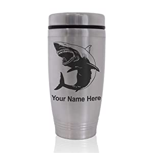 Commuter Travel Mug, Great White Shark, Personalized Engraving Included