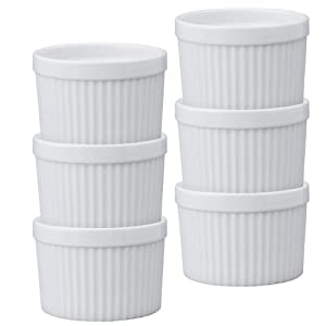 HIC Deep Souffles, Porcelain, 2.75-Inch x 3.75-Inch, 10-Ounce Capacity, Set of 6