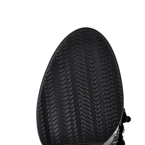 4 Glass B Material Solid Black Heels Toe Diamond High with Closed Round AmoonyFashionWomens and Soft 5 US M Boots Platform vRZxnp