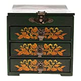MagiDeal Antiques Wooden Makeup Dresser Jewelry Watch Storage Case Box Holder Girls Gift - Green, as described