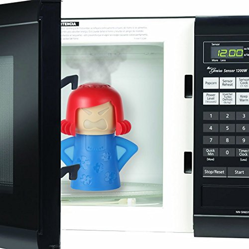 Home-X Steam'n Mama Microwave Cleaner, The Fun and Easy Way to Steam Clean Your Microwave, Blue/Red