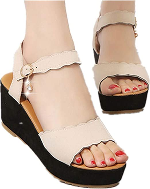Womens Ladies Platform Peeptoe Party High Heel Wedding Shoes Wedge Sandals Sizes