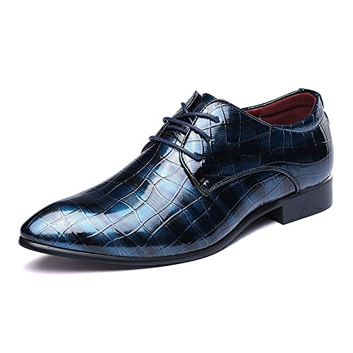 2018 Scarpe stringate basse, Scarpe da uomo in pelle PU Pelle di serpente Texture Lace up superiore Business Oxford traspirante Low Top foderato Oxford ( Colore : Rosso , dimensione : 42 EU ) Blue