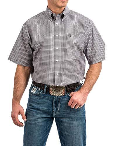 (Cinch Men's Classic Fit Short Sleeve Button One Open Pocket Plaid Shirt, JR Lilac S)