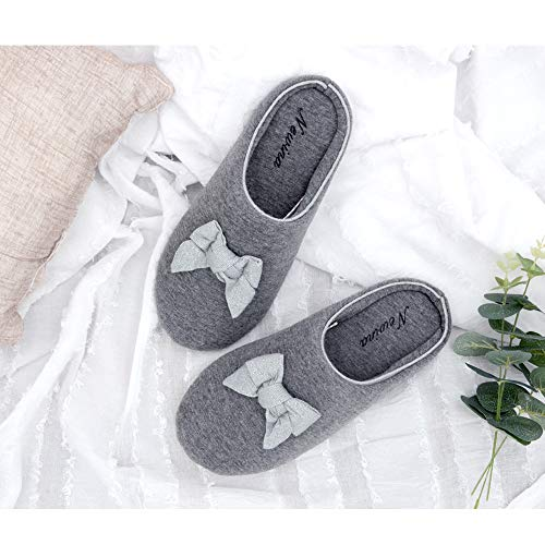 Bow House with Closed Grey Cotton Accent Cute Women's Slippers Memory Newina Foam Cozy Toe Zq44zU