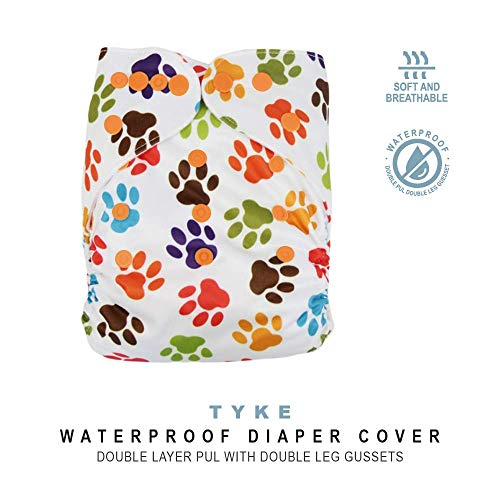 Baby Tooshy Cloth Diaper Covers with Double Gussets. Waterproof, Adjustable & Reusable. One Size for Prefolds/Flats/ Inserts. Tyke