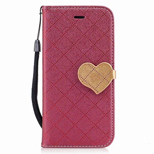 Yiizy Apple IPhone 7 Custodia Cover, Amare Design Sottile Flip Portafoglio PU Pelle Cuoio Copertura Shell Case Slot Schede Cavalletto Stile Libro Bumper Protettivo Borsa (Rosso)