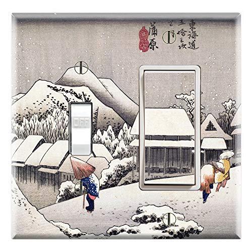 Hiroshige Evening Snow (Graphics Wallplates - Ukiyoe Evening Snow at Kanbara by Hiroshige- Toggle Rocker/GFCI Combo Wall Plate Cover)