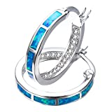RongXing Jewelry 2017 New 925 Sterling Silver Whtie Blue Opal Party Hoop Stud Earrings White CZ Engagement Girls Diamons Earrings
