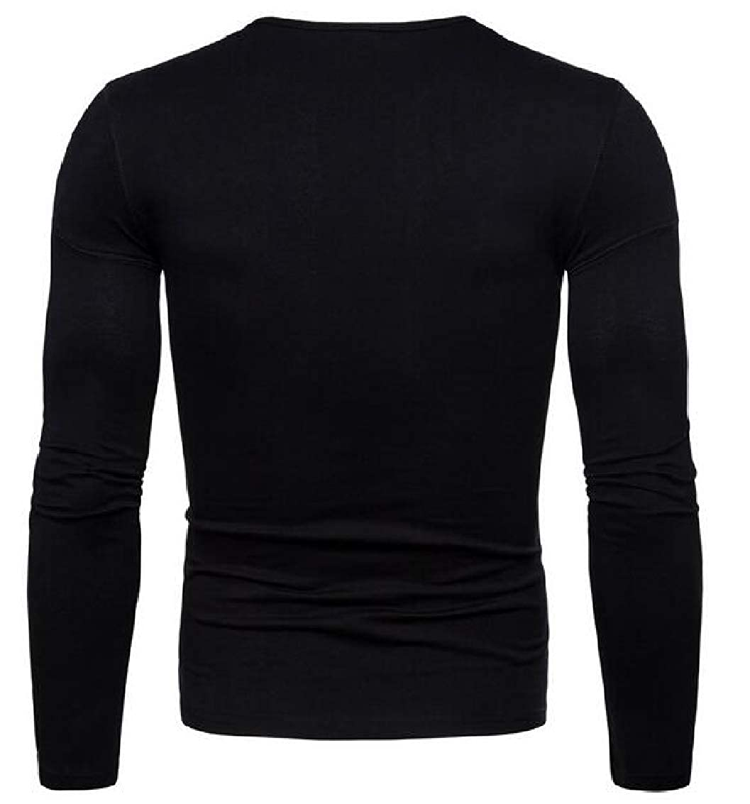Mens Solid Color Long Sleeve Tee Crewneck Lightweight T-Shirts
