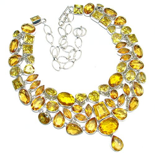Golden Topaz Women 925 Sterling Silver Necklace - FREE GIFT BOX