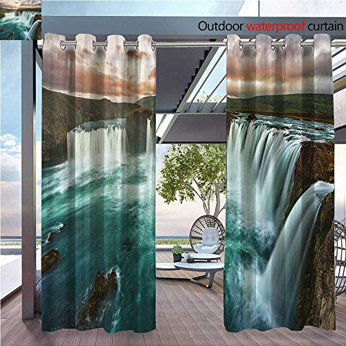 (DESPKON Environmental Protection Material Polyester of Majestic Iceland Waterfall Flowing Down The River Northern Magi for Living Room Window,Sun Insulation. W108 x L108 INCH)