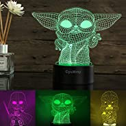 3D Illusion Star Wars Night Light for Kids, 3 Pattern and 16 Color Change Decor Lamp - Star Wars Toys and Gift